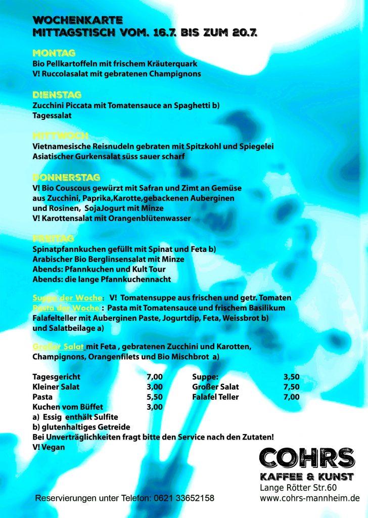 Wochenkarte mittagstisch vom 16 7 bis zum 20 7 cohrs for Mittagstisch mannheim
