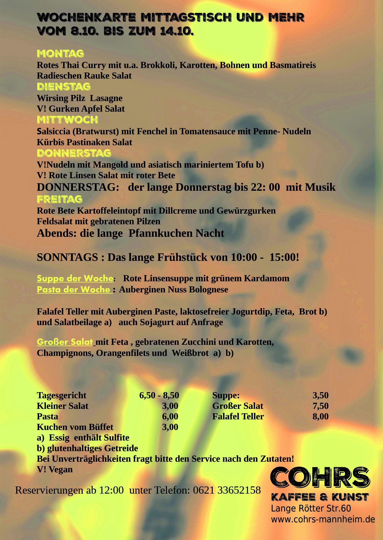 Wochenkarte mittagstisch und mehr vom bis zum for Mittagstisch mannheim